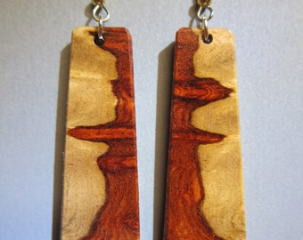 Long Amboyna Burl Exotic Wood Small Earrings, Handcrafted by ExoticWoodJewelryAnd Hypoallergenic wires