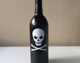 Skull and Crossbones Candleholder,Skeleton Wine Bottle, Halloween Wine Bottle, Halloween Candleholder, Trick or Treat, Up-cycled Wine Bottle