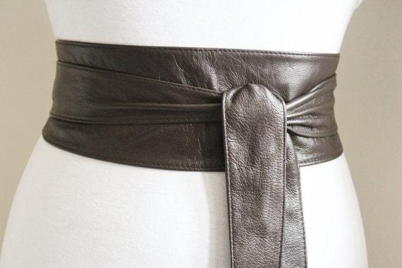 brown obi tie belt leather obi belt corset waist belt
