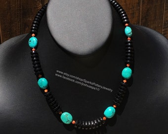Jet and Turquoise Necklace.