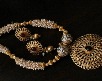 Gold Tone Filigree Work Pendant with Lac Beads Pearl Loreals in a Traditional Indian Necklace and Earrings Jewelry Set Indian Jewellery