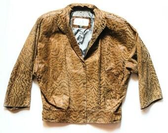 80s Leather Jacket | Faux Snake Skin Jacket | Snake Print Jacket | Bomber Jacket | Slouch Style Jacket | Brown Vintage Jacket - Size L Large