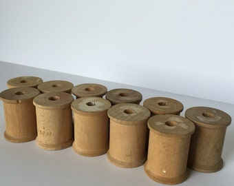 11 Medium Wooden Spools 1-3/16 x 1-7/16 Vintage Thread Spool