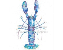 A3 watercolour Blue Lobster fish art print . Collectable Watercolour marine life print from original by Nicola Jane rowles