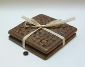 Set of 2 Coffee Coasters/coffee lovers gift/ French Roast/tile coasters