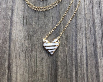 striped porcelain heart necklace