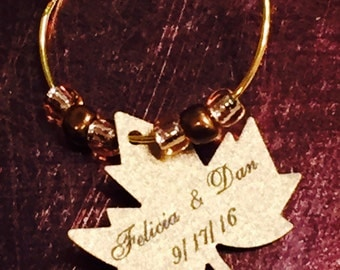 Bride & Groom/Wedding Date Wine Charms!!Gold Wedding Favors, Falling In Love Wedding Favors, Maple Leaf, Fall Wedding Favors