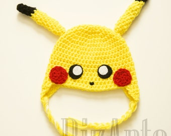 Pikachu Crochet Hat | Pikachu Costume Hat | Pokemon Winter Beanie