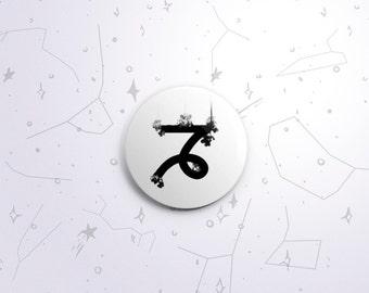 Capricorn zodiac one-inch pinback button badge - small pin