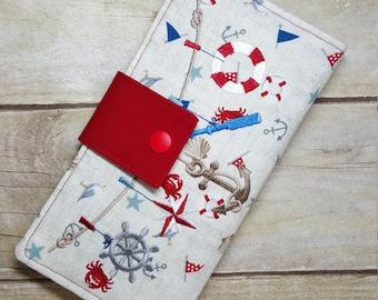 Nautical print Embroidered wallet, bifold wallet, womens wallet, clutch wallet, credit card wallet, slim wallet, handmade fabric wallet