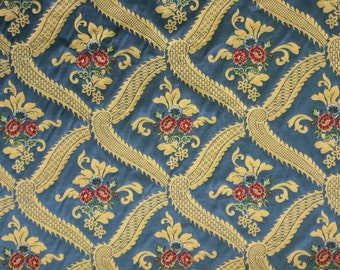 Blue Traditional Floral - Upholstery Fabric by the Yard