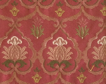 Soft Pink and Green - Petite  Damask - Upholstery Fabric by the Yard