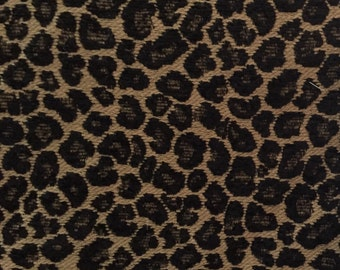 Leopard Spots - Traditional Leopard - Black and Tan - Upholstery Fabric by the Yard