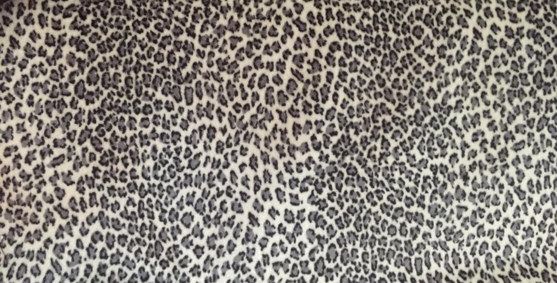 Black And Grey Leopard Print Velvet Like Upholstery