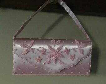 Pink Beaded Purse, Pink Satin Beaded Handbag, Pastel Pink Clutch, Evening Bag, OOAK Dressy Purse