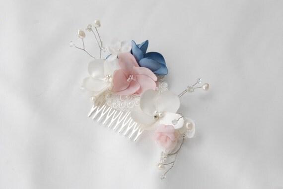 Ivory,pink quartz and french blue bridal hair comb;floral bridal haircomb;bridesmaids