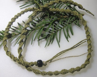 Sage Hemp Necklace, Mens Hemp Necklace, Natural Hemp Necklace, Black Hemp Choker, Spiral Hemp Necklace, Hemp Jewelry, Unisex Hemp Jewelry