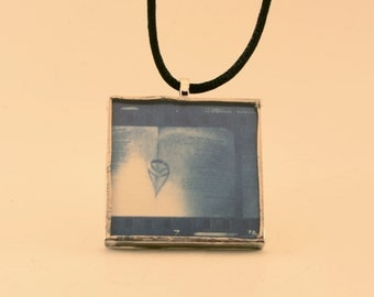 Right Heart on Book Cyanotype Pendant