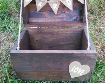 Rustic Wood Card Holder/ Wedding Card Chest/ Wedding Card Box/ Card Box/ Card Chest