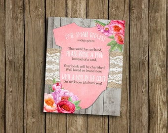 Girl Baby Shower Book Request Card Pink Floral Flowers Watercolor Peony Lace Burlap Wood Rustic Gray Printable Instant Download Digital File