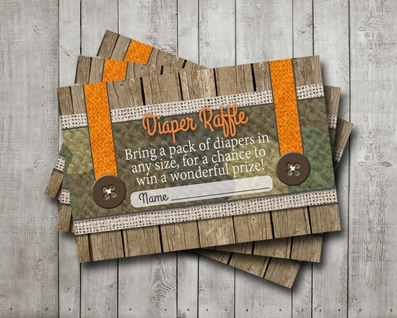 boy baby shower diaper raffle tickets camo camouflage hunter