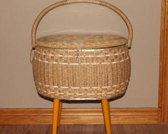 Vintage Sewing Basket - Dritz Sewing Basket with Legs - Mid Century Modern Sewing Basket