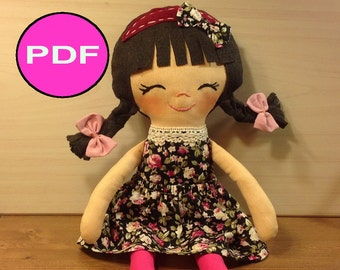PDF sewing tutorial doll sewing pattern doll DIY pattern making doll soft doll pattern pdf doll pattern cloth doll pattern rag doll making