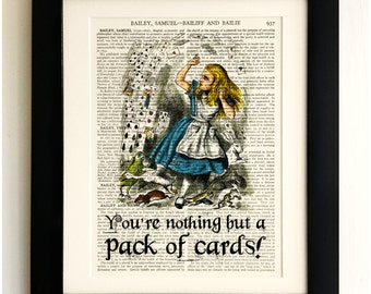 FRAMED ART PRINT on old antique book page - Alice in Wonderland, Playing Cards Quote, Upcycled Wall Art Print Encyclopaedia Dictionary Page