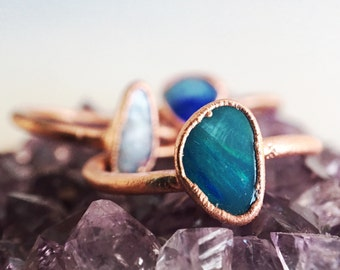 Opal Ring // Blue Boulder Opal Ring /// Raw Stone Ring /// October Birthstone // Electroformed Ring /// Boho Jewelry