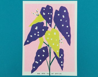 A risograph print of a weird colored dotted begonia plant