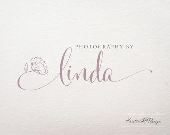 Flower logo, Handwritten logo, Photography logo design, Premade logo design, Peony logo, Creative business logo, Logo watermark 335