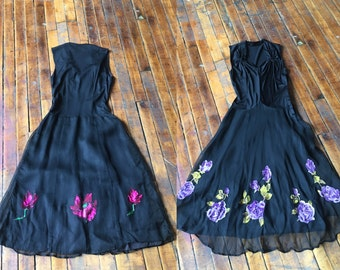 Black Sleeveless Dress with Floral Pattern Skirt