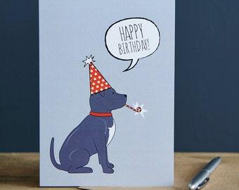 Staffie birthday card