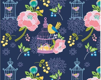 Lulabelle Fabric Navy Main Birdcage Fabric -  Fabric Collection By Riley Blake Designs - Designer Fabric Sold By the Half Yard