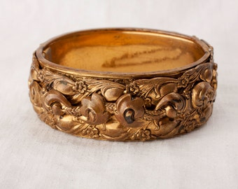 Repousse Hinged Cuff Bracelet - Victorian Revival, 1940s