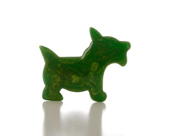 Marbled Green Bakelite Dog Pin, 1930s/40s