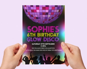 Glow Disco Invite Printable Personalised Invitation Childs Kids Invite Party Teen Tween Little Girl Disco Ball Dancing Glow In The Dark