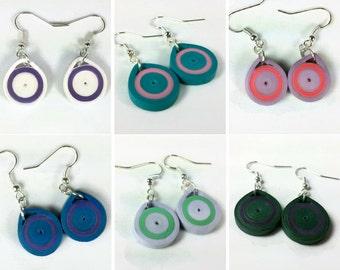 Paper Quilling Handmade Earrings Dangle - minimal earrings, quill jewelry, small earrings, eco friendly earrings, paper earrings for women