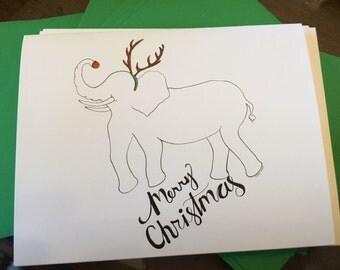 Merry Christmas - Elephant/Reindeer - Notecards