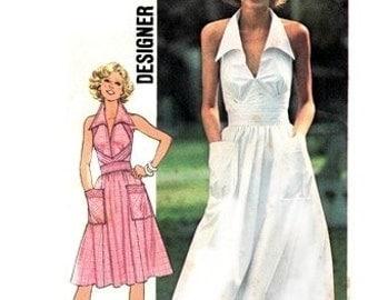 Simplicity 7431 Fanciful Halter Dress  1976 / SZ10 UNCUT