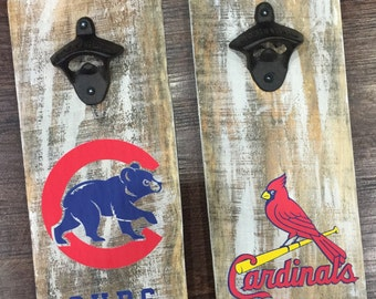 House Divided 2 Bottle Opener Set - Pick any 2 Teams - Man Cave - Groomsmen - Sports Fan