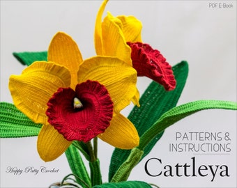 Crochet Orchid Pattern - Crochet Cattleya Orchid Pattern for Home Decor and Flower Applique - Crochet Flower Pattern