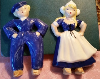 Vintage Dutch Boy and Girl Wall Plaques Wall Hangings Plaster Ceramic 1940s-50s