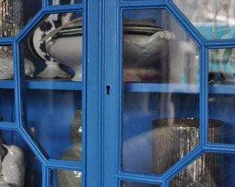 Sky-blue painted, astragal-glazed, vintage display cabinet