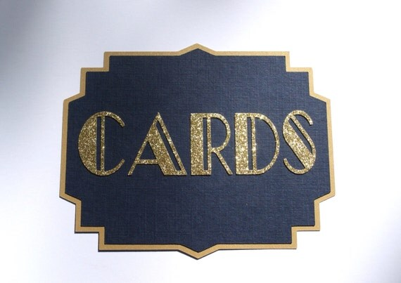Navy and Gold Art Deco Cards Sign - Card Box Sign - Wedding Cards