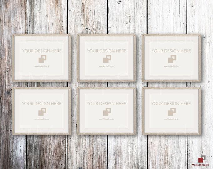 "FRAME MOCKUP BROWN, 8x10"", 6x ertical brown Mockup, picture frame mockup in brown on white vintage wood"