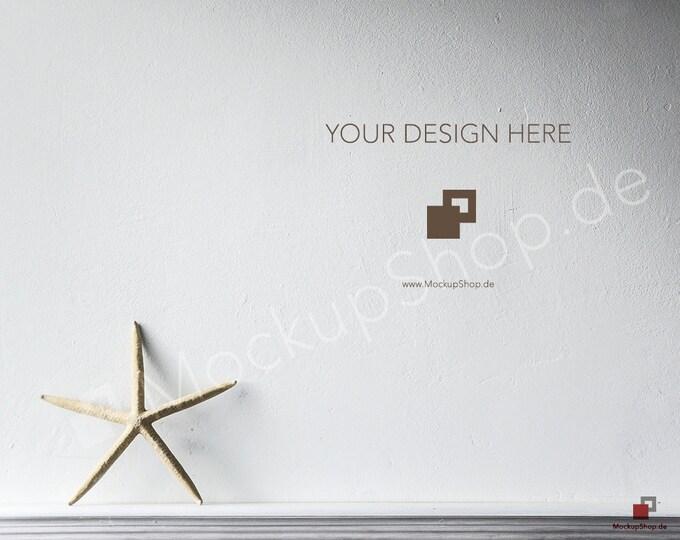 Starfish MOCKUP SCANDINAVIAN DESIGN Background // white wall background // mockup background nordic / Instand Download / Mockup Scandinavian
