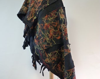 The hot price. Irregular warm felted shawl.  Handmade, one of a kind.