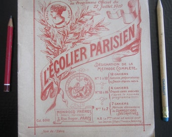 1909 French antique drawing book L'Écolier Parisien/collectible vintage craft book children cahier D'école beaux arts scool/made in Paris