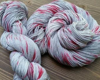 Hand Dyed Sock Yarn, Blood Red Silver Gray, Halloween Gore Horror Speckle Splatter - Red Rain